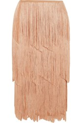 Tom Ford Fringed Stretch Knit Skirt Neutral