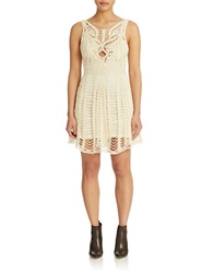 Free People Macrame Fit And Flare Dress Ivory
