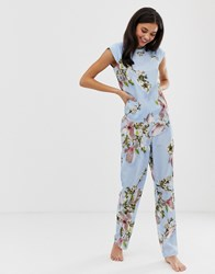 Ted Baker B By Harmony Floral Print Pyjama Trouser In Blue