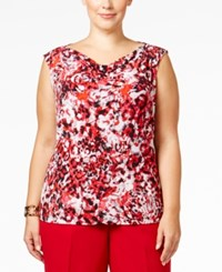 Kasper Plus Size Printed Drape Neck Top Fire Red Multi