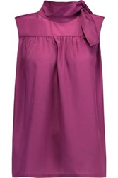 Raoul Cammi Pleated Crepe De Chine Blouse Magenta