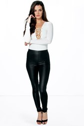 Boohoo Wet Look Leggings Black