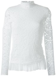 Guild Prime Lace Overlay Tulle Hem High Neck Blouse White