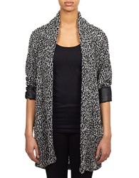 William Rast Faux Leather Trimmed Knit Cardigan Black