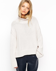 Asos Chunky Jumper With Turtle Neck And Wide Sleeves Stone