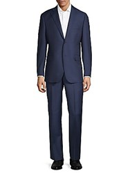 Saks Fifth Avenue Black Multistripe Wool Suit Navy