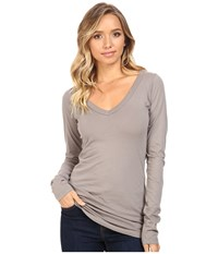 Lamade Fitted V Neck Tee Peppercorn Women's Long Sleeve Pullover Brown
