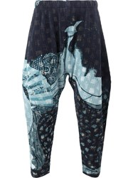 Homme Plisse Issey Miyake Abstract Print Drop Crotch Trousers Blue