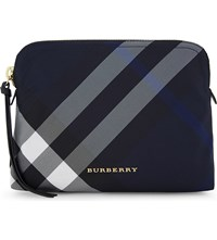 Burberry Checked Large Nylon Pouch Indigo Blue