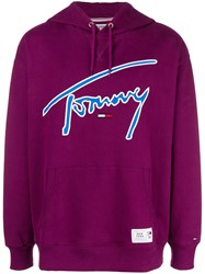 Tommy Jeans Embroidered Logo Hoodie Pink And Purple
