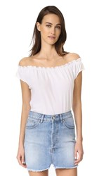 Chaser Off Shoulder Boho Short Sleeve Tee White