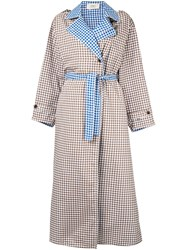 Ports 1961 Contrast Check Trench Coat Brown