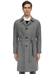 Tagliatore Single Breasted Wool Herringbone Coat Black
