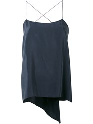 Theory Square Neck Cami Top Women Silk L Blue