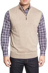 Men's Peter Millar Quarter Zip Merino Wool Vest Barley
