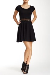 Fire Macrame Waist Knit Dress Black