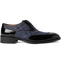 Etro Panelled Polished Leather And Canvas Oxford Shoes Black