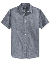 American Rag Men's Mandarin Short Sleeve Shirt Only At Macy's Basic Navy