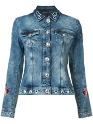 Philipp Plein Floral Embroidered Denim Jacket Blue