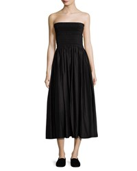 The Row Cial Strapless Tea Length Skirt Dress Black