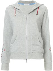 Guild Prime Floral Embroidered Zip Up Hoodie Grey