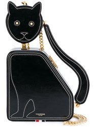 Thom Browne Cat Bag With Chain Shoulder Strap In Calf Leather Black