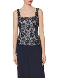 Gina Bacconi Sequin Lace Cami Navy Gold