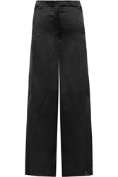 Valentino Hammered Satin Wide Leg Pants Black