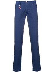 Manuel Ritz Slim Fit Tailored Trousers Blue