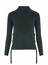 Frame Side Tie Cashmere Sweater Dark Green