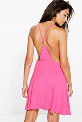 Boohoo Strappy Back Detail Skater Dress Coral