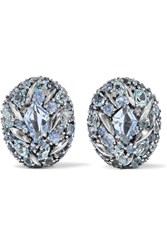 Alexis Bittar Sterling Silver Topaz Sapphire And Diamond Clip Earrings Metallic