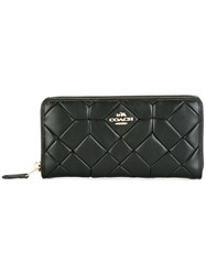 Coach Accordion Zip Around Wallet Black