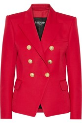 Balmain Double Breasted Wool Blazer Red