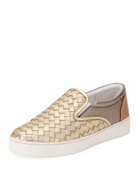 Bottega Veneta Intrecciato Leather Skate Sneaker Gray Multi Patch