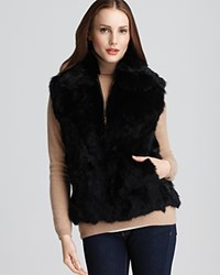 Surell Long Hair Rabbit Vest Black