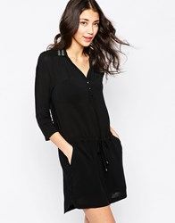 See U Soon Shirt Dress With Embellished Collar Black