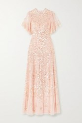 Needle And Thread Honesty Flower Sequin Embellished Tulle Gown Pastel Pink