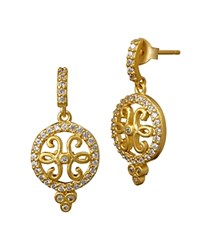 Freida Rothman Open Filigree Drop Earrings Gold