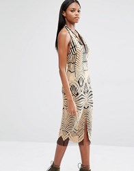 Lavish Alice Embroidered Mesh Halterneck Open Back Midi Dress Nude And Black Brown