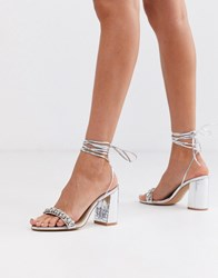 Be Mine Bridal Penelope Heeled Sandals With Embellished Strap In Silver Metallic