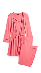 Cosabella Bella Maternity Robe Cami And Pant Pj Set Jazz Pink Marine Blue