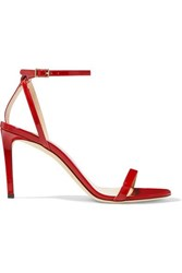 Jimmy Choo Minny 85 Patent Leather Sandals Red