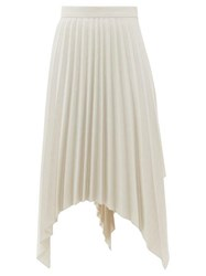 Acne Studios Ilsie Pleated Asymmetric Wool Blend Skirt White Multi