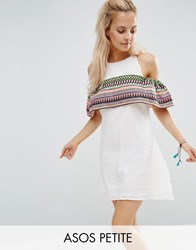 Asos Petite Aztec Sundress With Cold Shoulder Detail White