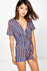 Boohoo Striped Capped Sleeve Wrap Front Playsuit Blue