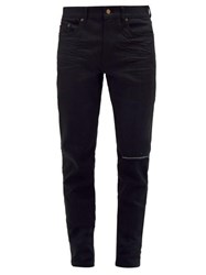 Saint Laurent Distressed Slim Leg Jeans Black