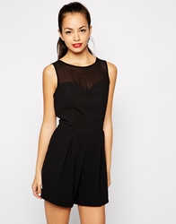 Girls On Film Playsuit With Sweetheart Mesh Insert Black