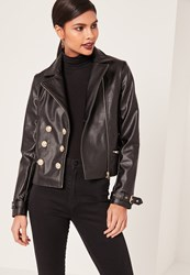 Missguided Petite Black Faux Leather Military Jacket