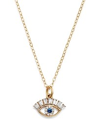 Bloomingdale's Diamond And Sapphire Evil Eye Pendant Necklace In 14K Yellow Gold 18 100 Exclusive Blue Gold
